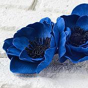 Украшения ручной работы. Ярмарка Мастеров - ручная работа Синие анемоны. Зажим для волос (фоамиран). Handmade.