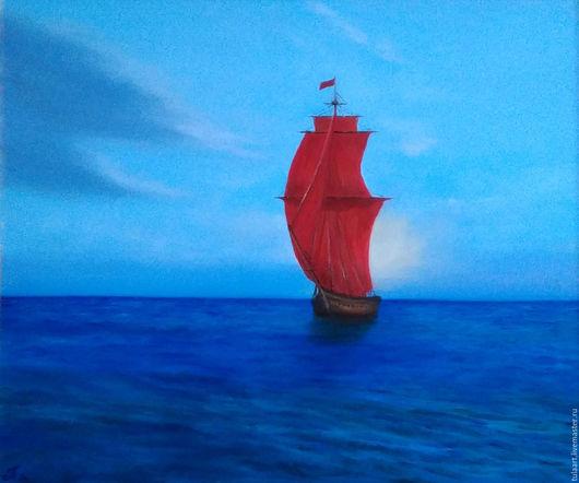 Пейзаж ручной работы. Ярмарка Мастеров - ручная работа. Купить Алые паруса. Handmade. Синий, море, холст на подрамнике