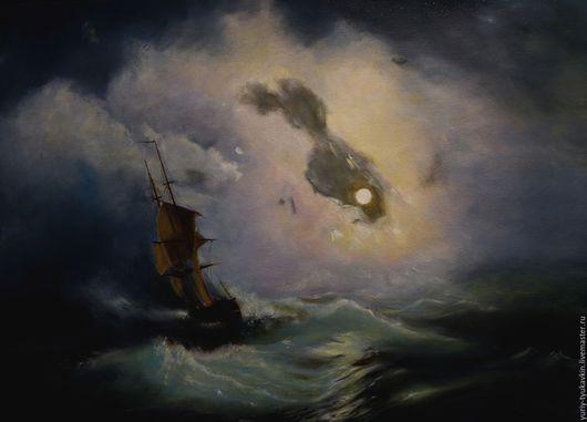 """Пейзаж ручной работы. Ярмарка Мастеров - ручная работа. Купить """" Буря на море ночью """" ( свободная копия с картины И.К.Айвазовского ). Handmade."""