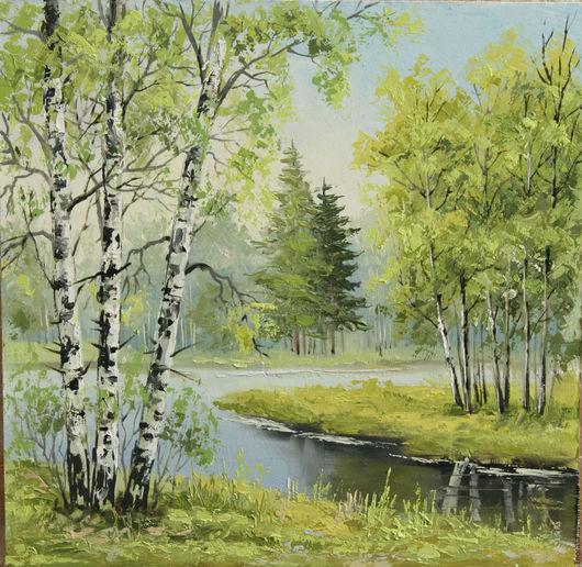 Пейзаж ручной работы. Ярмарка Мастеров - ручная работа. Купить летом у реки. Handmade. Комбинированный, картина в подарок, картина для интерьера