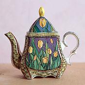 "Посуда handmade. Livemaster - original item Чайник заварочный фарфоровый ""Тюльпаны"". Handmade."