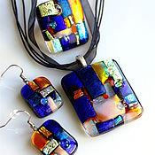 Украшения ручной работы. Ярмарка Мастеров - ручная работа комплект  из стекла, фьюзинг  Хундертвассер. Handmade.