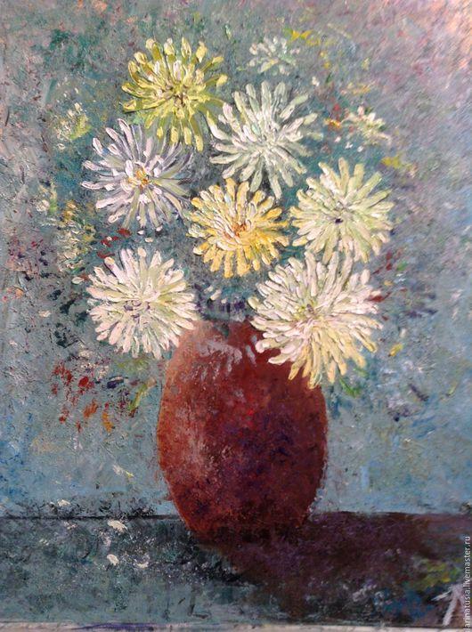 Картины цветов ручной работы. Ярмарка Мастеров - ручная работа. Купить Хризантемы. Handmade. Морская волна, цветы, картина в подарок