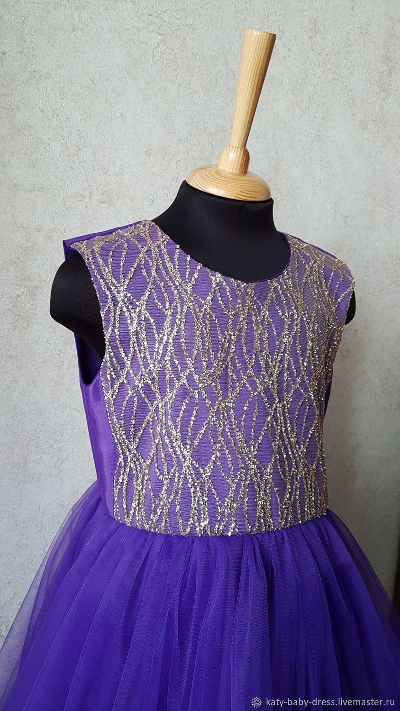 Чернильное платье с блестками
