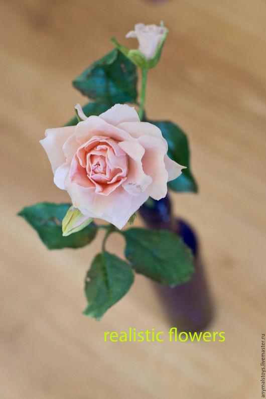 Цветы ручной работы. Ярмарка Мастеров - ручная работа. Купить розочка  из полимерной глины нежных тонов. Handmade. Бежевый
