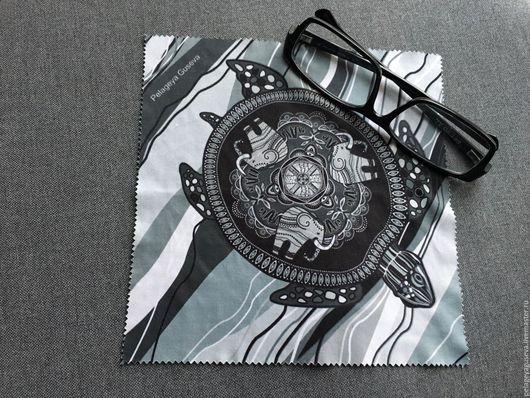 """Очки ручной работы. Ярмарка Мастеров - ручная работа. Купить Протирка для очков и техники """"Черепаха"""". Handmade. Разноцветный, салфетка из ткани"""