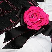 Украшения ручной работы. Ярмарка Мастеров - ручная работа Брошь - бант с розой. Ярко-розовая с черным.(продано). Handmade.
