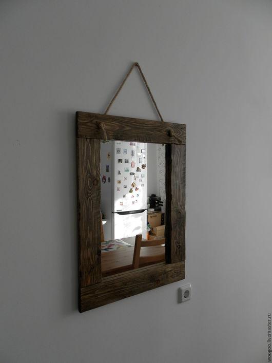 """Зеркала ручной работы. Ярмарка Мастеров - ручная работа. Купить Зеркало в стиле """"Лофт"""". Handmade. Коричневый, хвоя"""