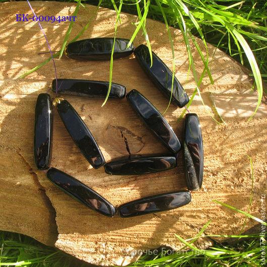 Для украшений ручной работы. Ярмарка Мастеров - ручная работа. Купить Черный агат крупная бусина трубочка. Handmade. Черный