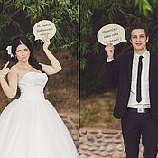 Свадебный салон ручной работы. Ярмарка Мастеров - ручная работа Речевые облака - таблички для свадебной фотосессии. Handmade.