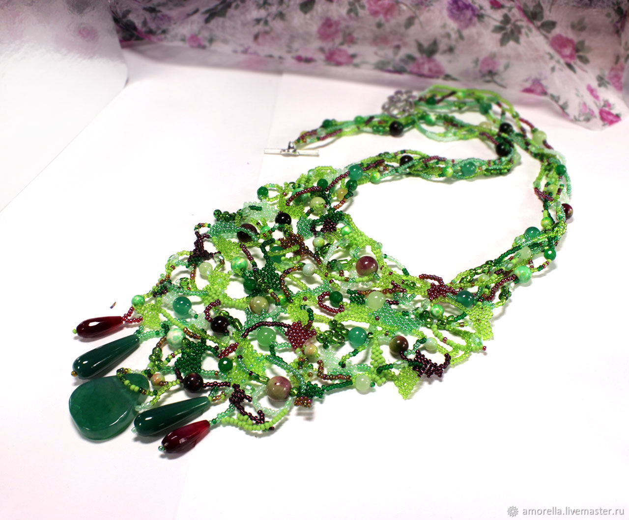 Freeform necklace made of Czech beads 'Olivia' gift for a woman, Necklace, Tver,  Фото №1