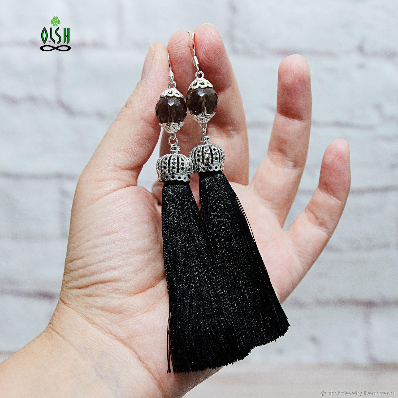 Серьги кисти кисточки черные с раухтопазом Lady of dreams, Серьги-кисти, Буденновск,  Фото №1
