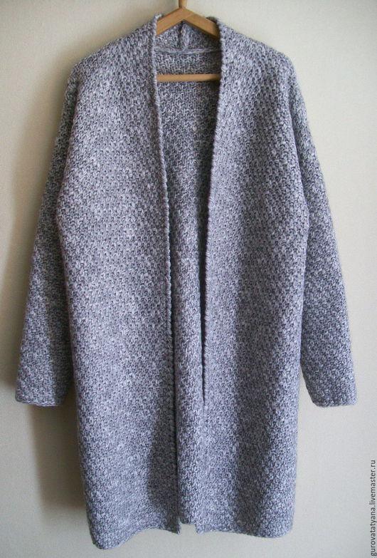 Кофты и свитера ручной работы. Ярмарка Мастеров - ручная работа. Купить Кардиган вязаный меланжевый в серых тонах с поясом из пряжи Италии. Handmade.
