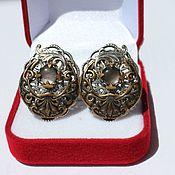 Украшения handmade. Livemaster - original item Gothic style vintage clip-on earrings Black pearl handmade. Handmade.