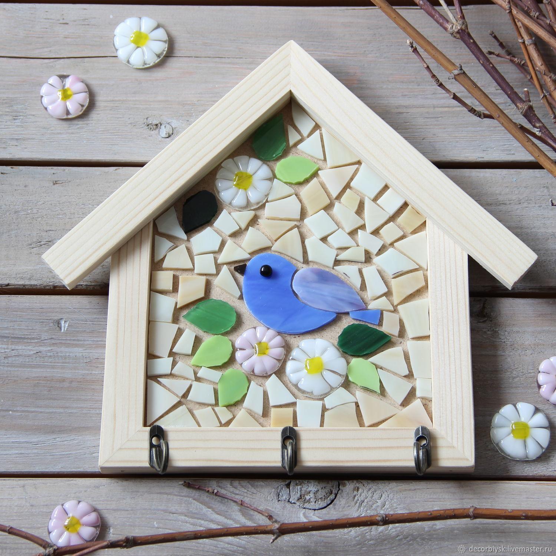 Набор для творчества мозаика Ключница домик с синей птичкой, Мозаика, Бийск,  Фото №1
