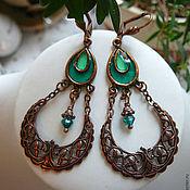 "Украшения handmade. Livemaster - original item Brass  copper plated earrings with fianites ""Emerald Garden"". Handmade."