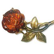 Украшения handmade. Livemaster - original item Amber rose brooch flower brooch for woman gift under vintage Burgundy. Handmade.