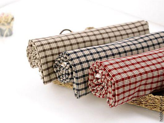 Шитье ручной работы. Ярмарка Мастеров - ручная работа. Купить Ткань хлопок Клетка ( синяя-коричневая- бордовая). Handmade.