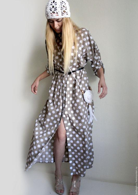 """Платья ручной работы. Ярмарка Мастеров - ручная работа. Купить Платье рубашка в горошек """"Милые дни 3"""". Handmade. Бежевый"""