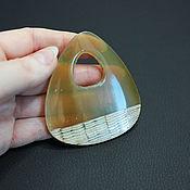 Материалы для творчества handmade. Livemaster - original item Zebu Buffalo Horn Pendant Rounded Trapezoid 68h14-59mm. Handmade.