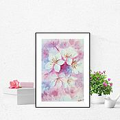 Картины и панно handmade. Livemaster - original item Watercolor painting Spring flowers. Handmade.