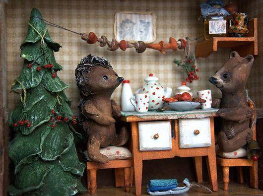 Миниатюра ручной работы. Ярмарка Мастеров - ручная работа. Купить Как Ежик и Медвежонок встречали Новый год... Handmade. Зеленый, комната
