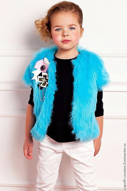 Одежда для девочек, ручной работы. Ярмарка Мастеров - ручная работа. Купить Меховой жилет для девочки. Handmade. Голубой, теплый жилет