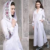 Одежда handmade. Livemaster - original item White dress with an ornament - Hooded Dress Boho - Bohemian Maxi Dress. Handmade.