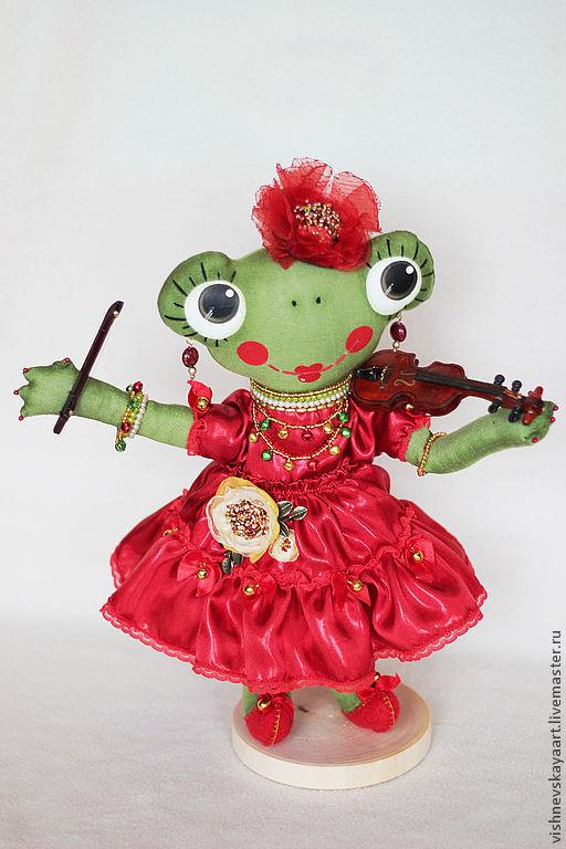 """Игрушки животные, ручной работы. Ярмарка Мастеров - ручная работа. Купить игрушка ручной работы """"Лягушка-скрипачка"""". Handmade. Зеленый"""