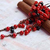 Украшения ручной работы. Ярмарка Мастеров - ручная работа Серьги Коралл и черный оникс медь. Handmade.
