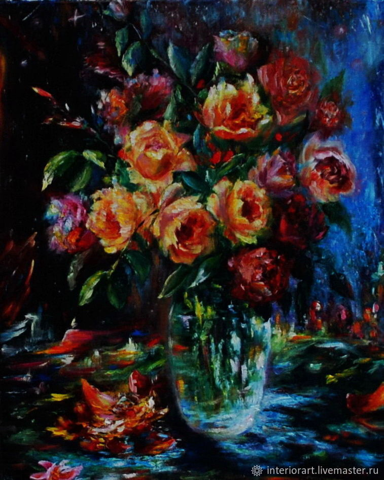 """Картина маслом """"Звуки ночи"""" натюрморт с розами, Картины, Великий Новгород,  Фото №1"""