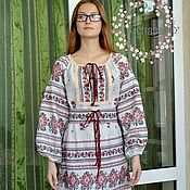 Одежда handmade. Livemaster - original item Embroidered dress with lace in ethno style made of cotton. Handmade.