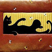 """Картины и панно ручной работы. Ярмарка Мастеров - ручная работа Текстильная картина """"Кошка и мотыльки"""". Handmade."""