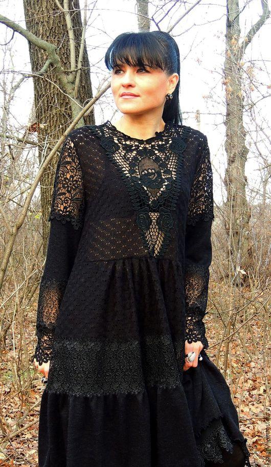 Шифоновая юбка с кружевом