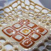 """Посуда ручной работы. Ярмарка Мастеров - ручная работа Блюдо из стекла """"Молочный шоколад"""", фьюзинг, 26х26 см. Handmade."""