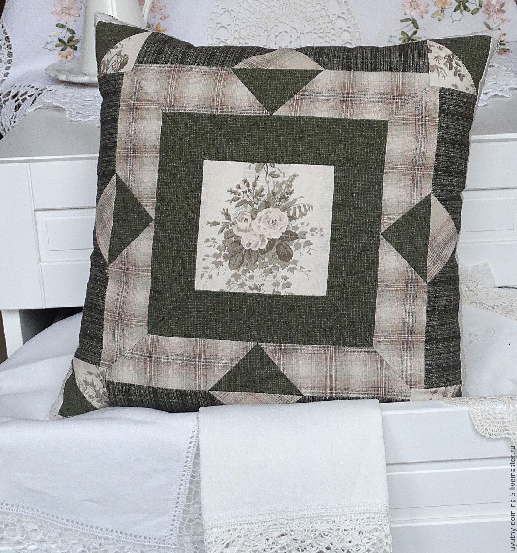 Наволочка в лоскутной технике,домашний текстиль, уютные вещи для дома.