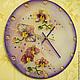 Часы для дома ручной работы. Ярмарка Мастеров - ручная работа. Купить Часы настенные стеклянные Фиолетовые с орхидеями. Handmade. Фиолетовый