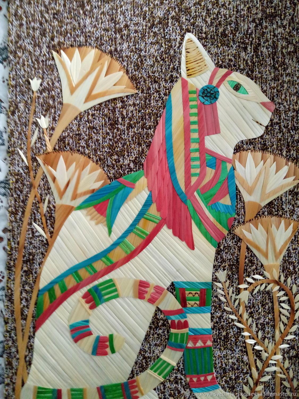 Животные ручной работы. Ярмарка Мастеров - ручная работа. Купить Египетская кошка. Handmade. Кошка, панно, подарок, Соломка, соломка