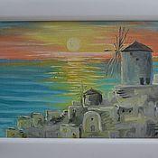 """Картины и панно ручной работы. Ярмарка Мастеров - ручная работа Картина """"Вечер над Санторини"""". Handmade."""
