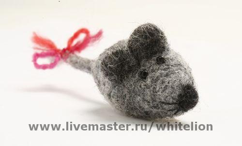 Броши ручной работы. Ярмарка Мастеров - ручная работа. Купить Мышка серая. Handmade. Бусины, шерсть