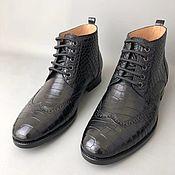 Обувь ручной работы handmade. Livemaster - original item Shoes with brogation made of genuine crocodile leather, in black!. Handmade.