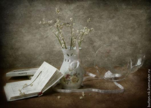 Фотокартины ручной работы. Ярмарка Мастеров - ручная работа. Купить натюрморт Забытые сонеты с сухими ландышами и книгами. Handmade. Бежевый