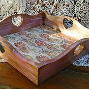Для дома и интерьера handmade. Livemaster - original item tray fruit tea pink brown decoupage. Handmade.