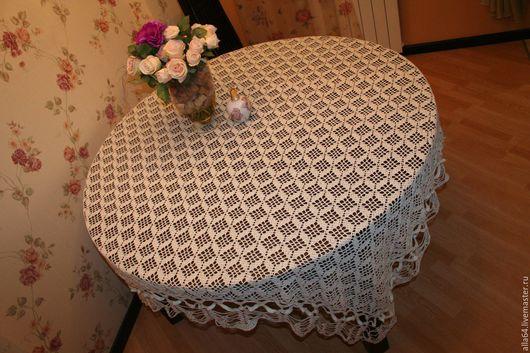 Текстиль, ковры ручной работы. Ярмарка Мастеров - ручная работа. Купить Скатерть вязаная. Handmade. Скатерть вязаная крючком, белый