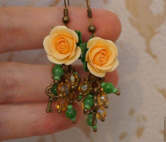 Серьги ручной работы. Ярмарка Мастеров - ручная работа. Купить Серьги с персиковыми розами. Handmade. Бежевый, серьги с цветами