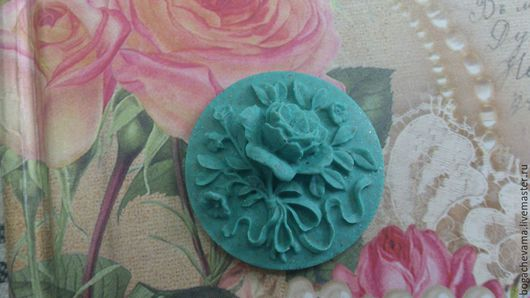 Камея `Букет цветов`, (круглая) 30мм