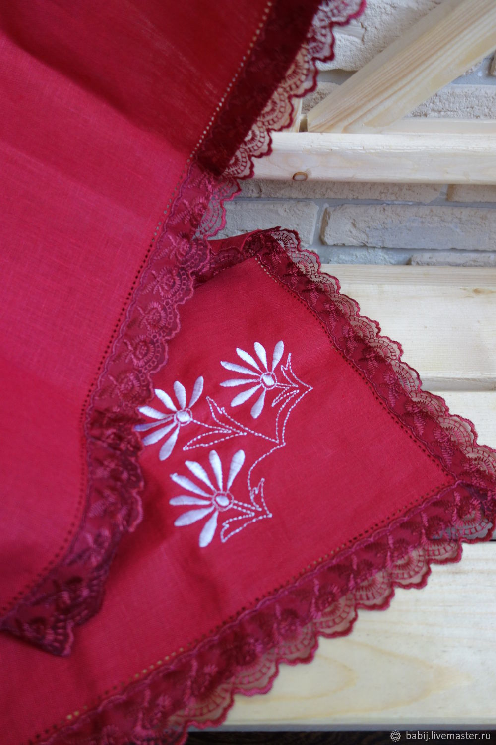 Linen tablecloth with embroidery, Tablecloths, Kostroma,  Фото №1