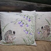 Pillow handmade. Livemaster - original item Linen pillowcases with painted Hedgehog in the bells. Handmade.