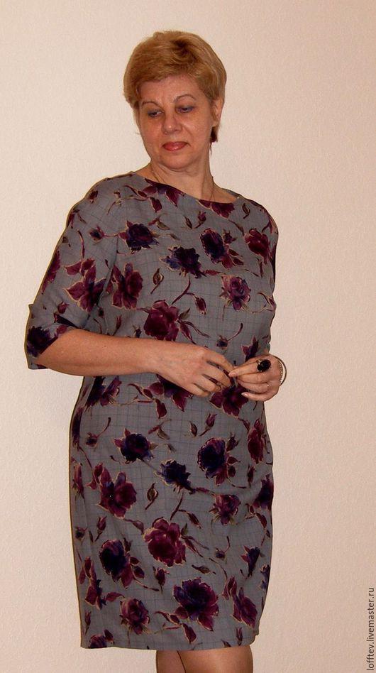 Платья ручной работы. Ярмарка Мастеров - ручная работа. Купить Платье прямое шерстяное вискозная подкладка. Handmade. Серый, шерсть
