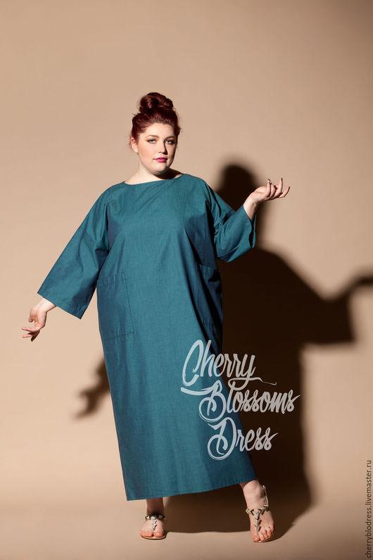 Большие размеры ручной работы. Ярмарка Мастеров - ручная работа. Купить Зеленое оверсайз хлопковое летнее макси платье, кафтан, ручная работа. Handmade.